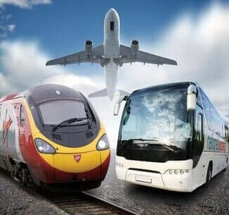 Image of a Bus Train and Airplane from How to get to Gatwick Airport