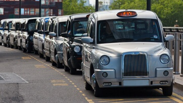 Taxis are waiting in London Airport